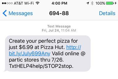 שיווק הודעות SMS לעסקים - פיצה האט