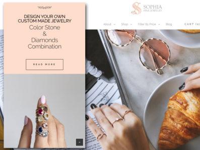 בנייה וקידום אתר תכשיטים באנגלית סופיה תכשיטים